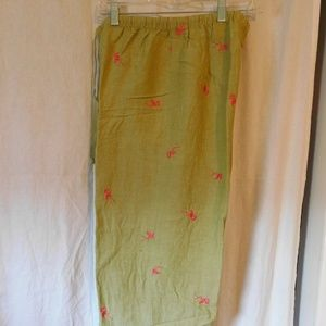 Hearts of Palm Green Capris with Flamingos Size 8